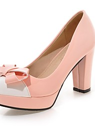 Women's Shoes PU Summer/ Round Toe Heels Office & Career / Casual Chunky Heel Bowknot Green / Pink / Purple