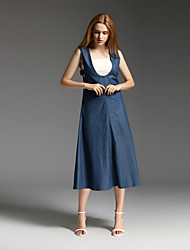 MISS FRENCH  Street chic / Sophisticated Sheath Dress,Solid Deep U Midi Sleeveless Blue Cotton