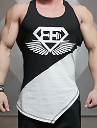 Men's Print Sport Tank Tops,Cotton Sleeveless-Black / White