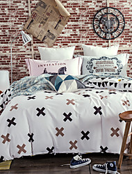 White 800TC bedding sets Queen King size Bedlinen printing sheets pillowcases Duvet cover sanding Cotton Fabric