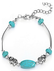 Green Turquoise with Silver Elephant Animal Chain Bracelet