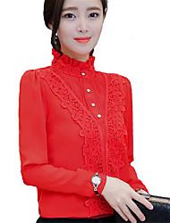 Mulheres Blusa Happy-Hour / Casual Vintage / Simples / Fofo Primavera / Outono,Sólido Vermelho / Branco / Preto Poliéster Colarinho Chinês