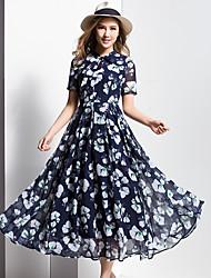 BORME® Women's Round Neck Short Sleeve Bohemia Floral Print Maxi Dress-Y006