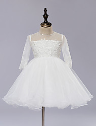 A-line Knee-length Flower Girl Dress - Lace / Satin / Tulle / Sequined Long Sleeve Jewel with Lace / Sequins