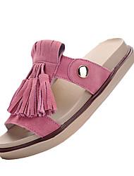 Damen-Sandalen-Lässig-Kunststoff-Flacher Absatz-Sandalen-Braun / Rosa / Beige