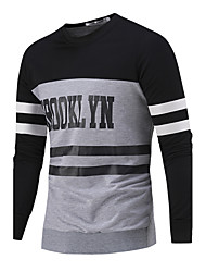 Men's Letter Casual / Sport Hoodie & Sweatshirt,Cotton Long Sleeve Black / White