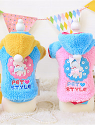 Dog Hoodie Blue / Pink Winter / Spring/Fall Cartoon Keep Warm, Dog Clothes / Dog Clothing