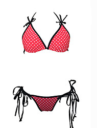 Venus Queen Women's Halter Bikini,Retro / Dot Nylon / Spandex Red