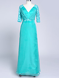 Formal Evening Dress A-line V-neck Floor-length Chiffon / Satin with Appliques / Pleats / Crystal Brooch