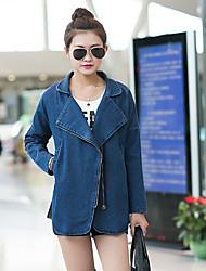 Mulheres Jaquetas Jeans Casual Moda de Rua Outono,Sólido Azul Algodão Colarinho de Camisa Manga Longa Média