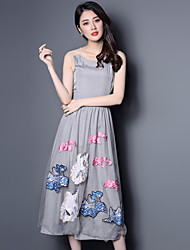 Boutique S Going out / Simple / Street chic Sheath Dress,Floral Round Neck Midi Sleeveless GraySilk