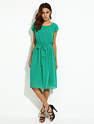 Women's Going out Simple Plus Size / Chiffon / Swing Dress,Solid Round Neck Midi Sleeveless Black / Green Polyester Summer