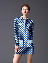 STEPHANIE  Women's Going out Vintage Sheath DressGeometric Shirt Collar Mini / Above Knee Long Sleeve Blue / Green