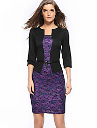 Women's Casual/Daily Sophisticated Bodycon Dress,Embroidered Stand Above Knee ¾ Sleeve Multi-color Polyester / Spandex