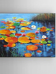 Hand-Painted Lotus scenery Landscape Oil Painting Restaurant Living Room With Frame Ready to Hang