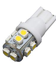 10pcs voiture blanche 360 ° Wedge T10 10-SMD intérieur chaleureux dôme carte sur la porte des ampoules à LED