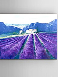 Ready to Hang Stretched Frame Hand-painted Oil Painting Canvas Corridor Wall Art Purple Lavender Scenery