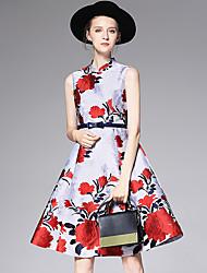 AFOLD® Feminino Colarinho Chinês Sem Mangas Longuete Vestidos-Y6076