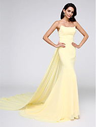 TS Couture Formal Evening Dress - Elegant Trumpet / Mermaid Strapless Watteau Train Chiffon with Pleats