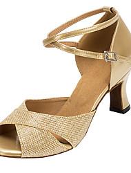 Customizable Women's Ballroom Dance Shoes Sparkling Glitter Latin Salsa Sandals Heels Customized