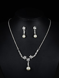 Halskette / Ohrringe Braut-Schmuck-Sets Künstliche Perle Perle Strass Silber Halsketten Ohrringe Für Hochzeit Party 1 Set