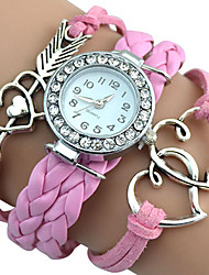 Popular Girl's Infinity Love Heart Braided Quartz Faux Leather Bracelet Charm Watches