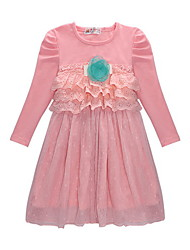 Pink/Green Fahion Girls Spring/Fall Causal Long Sleeve Dress with Mesh Skirt for 2-7 Years Outfit Clothing Set