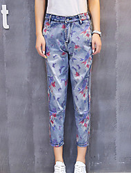 Women's Print Blue Jeans / Harem Pants,Simple