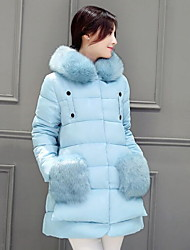 Women's Solid Blue / Pink / Black / Gray / Purple Padded Coat,Simple Hooded Long Sleeve Big Fur Down Jacket