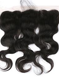 """10""""20"""" Noir Tissée Main Ondulation naturelle Cheveux humains Fermeture Brun roux Dentelle Suisse 30-90 gramme Moyenne Taille du Bonnet"""