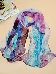 Women's Chiffon Flowers Print Scarf,Pruple/Peach/Red/Beige/Green/Orange