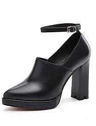 Damen-High Heels-Hochzeit Outddor Büro Lässig-Nappaleder Leder-Blockabsatz Plateau Block Ferse-Plateau Pumps Modische Stiefel