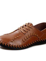 Herren-Loafers & Slip-Ons-Lässig-Leder-Flacher Absatz-Komfort-Blau Braun Bräunlich