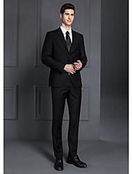 encoche de coupe standard 2017 costumes simples breasted deux boutons de polyester solides 2 pièces noir / gris droit à rabats