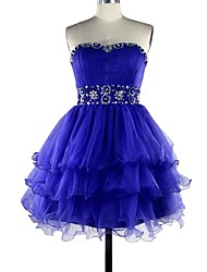 Cocktail Party Dress Ball Gown Sweetheart Knee-length Satin / Tulle with Beading / Tiers