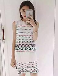 Damen Geometrisch Sexy / Boho / Niedlich Ausgehen / Lässig/Alltäglich / Urlaub T-shirt Rock,Rundhalsausschnitt Sommer Ärmellos Weiß
