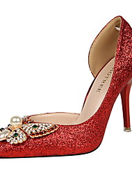Westland® Women's Stiletto Heels/High heels/Pointed Toe Glitter/Wedding/Party & Evening/Dress Rhinestone/Red  heels
