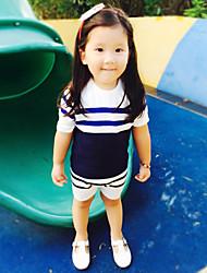 Mädchen T-Shirt-Lässig/Alltäglich Gestreift Baumwolle Sommer Blau