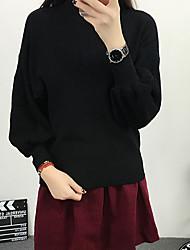 Normal Pullover Femme Décontracté / Quotidien simple,Couleur Pleine Rouge / Noir / Marron Col Roulé Manches Longues CotonPrintemps /