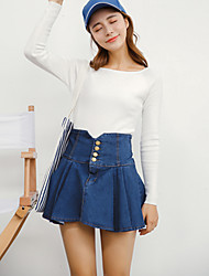 Women's Solid Blue Skirts,Simple Mini