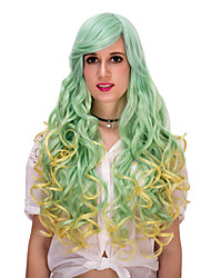 Golden green gradient color long hair wig.WIG LOLITA, Halloween Wig, color wig, fashion wig, natural wig, COSPLAY wig.
