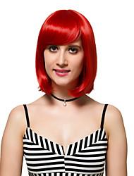 красные основные моменты короткие волосы, модные парики.