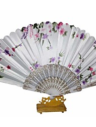 The Pretty Floral Waved Hand Fan  Random Pattern  (Set of 4)