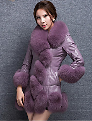 Women's Going out / Party/Cocktail Sexy / Simple Fur Coat,Solid / Color Block Shawl Lapel Long Sleeve Fall /