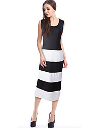 Women's Plus Size / Casual/Daily / Beach Street chic Bodycon Dress,Color Block Round Neck Midi Sleeveless