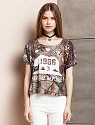 Tee-shirt Aux femmes,Imprimé Sortie simple Eté Manches Courtes Col Arrondi Marron Polyester / Spandex Fin
