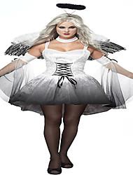 Costumes Ange et Diable Halloween Blanc / Noir Imprimé Polyester Jupe / Manche / Ailes / Coiffure