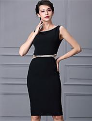 Baoyan® Women's Round Neck Sleeveless Above Knee Dress-160346