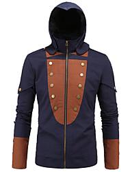 Men's Long Sleeve Casual / Formal / Plus Size Jacket,Cotton Patchwork Blue
