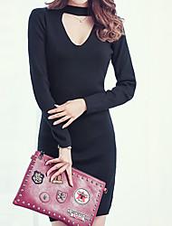 Long Pullover Femme Sortie simple,Couleur Pleine Noir / Gris Col Roulé ½ Manches Coton Automne Moyen